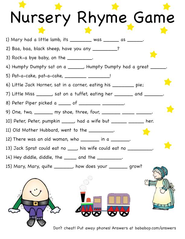 nursery rhyme game print